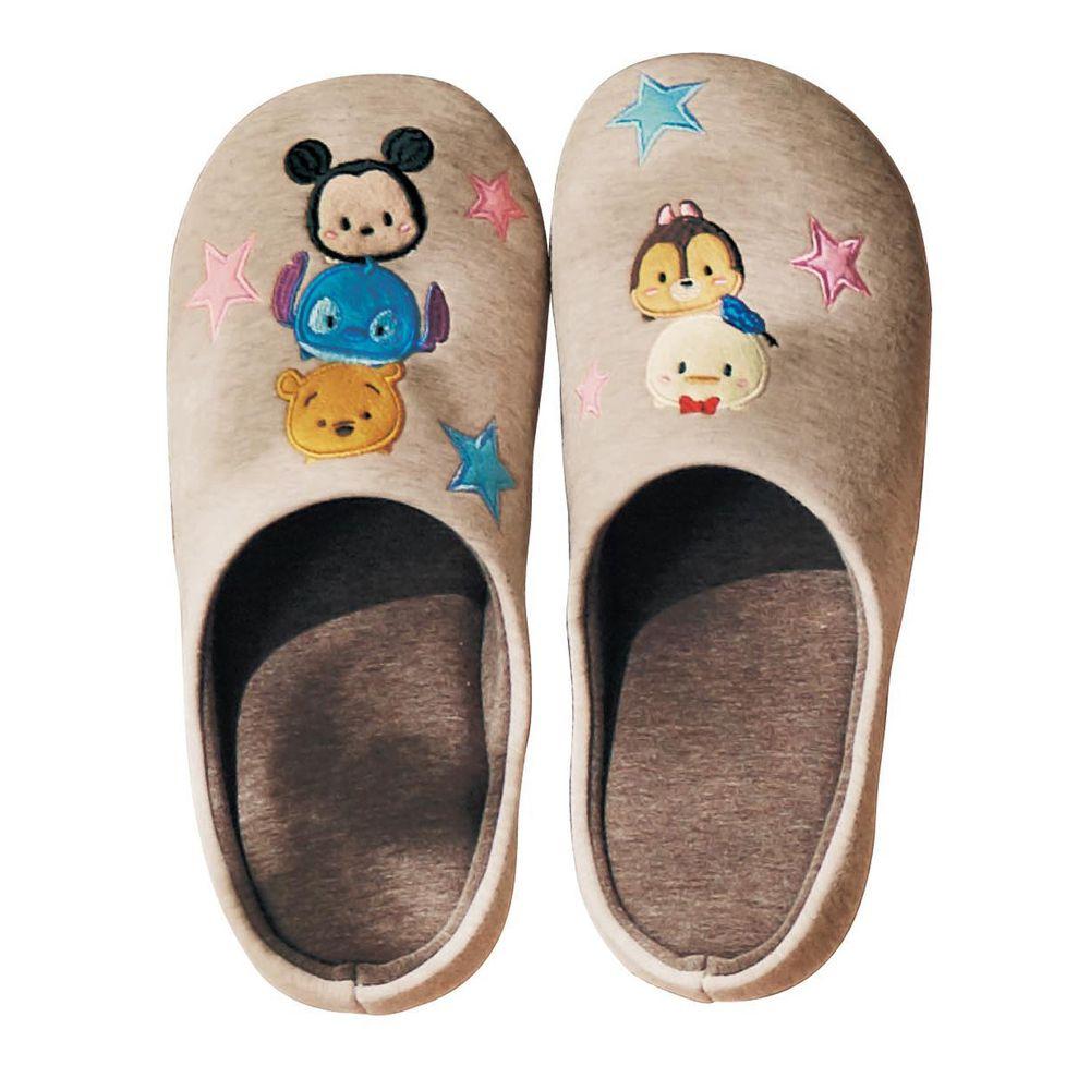 日本千趣會 - 迪士尼室內拖鞋(低反發)-Tsum Tsum-杏咖啡