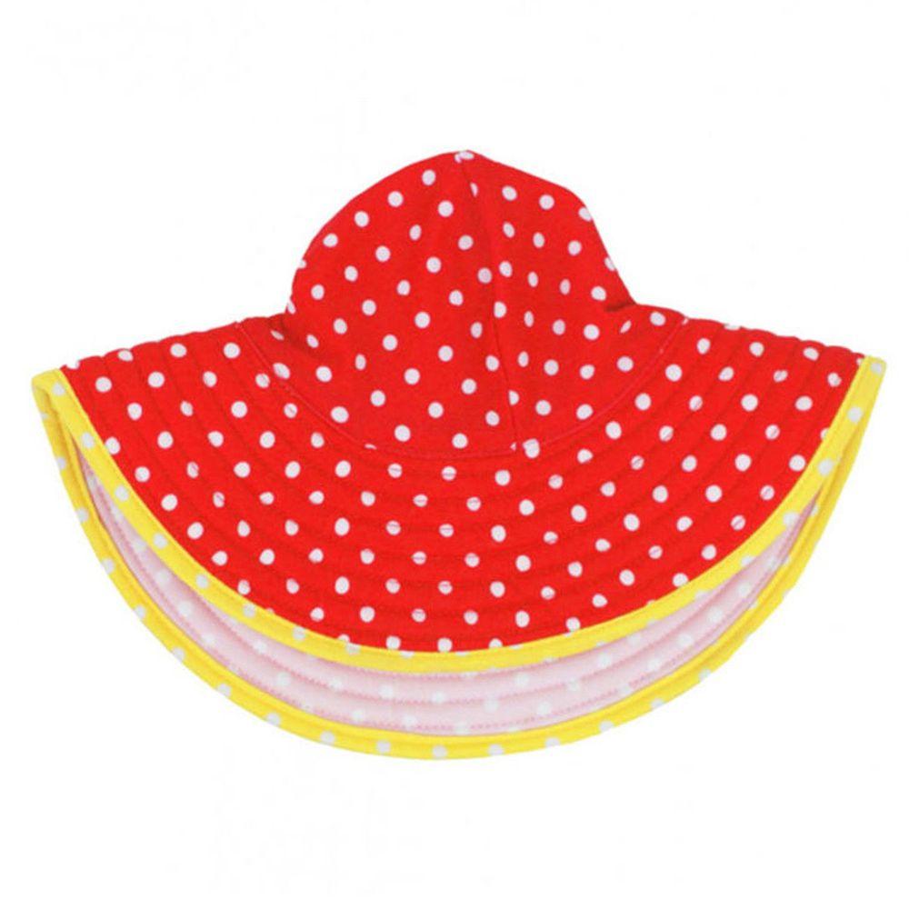 美國 RuffleButts - 嬰幼兒雙面配戴遮陽帽-橘黃白圓點