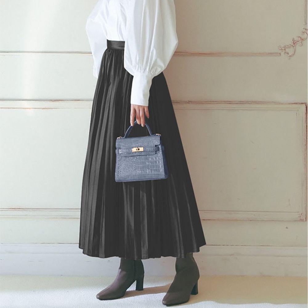 日本 GRL - 光澤皮質百褶長裙-深灰