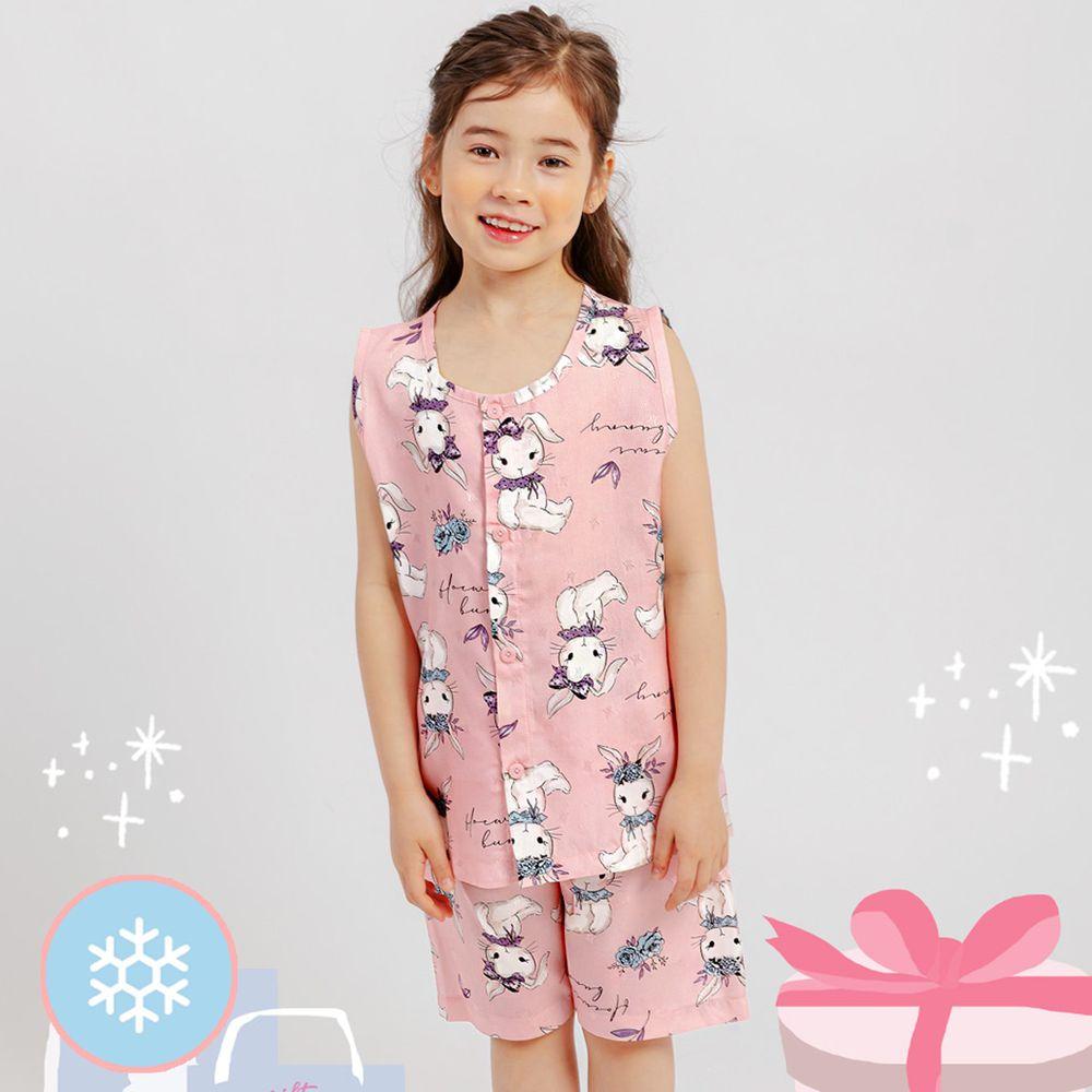 韓國 Mellisse - 韓製涼感嫘縈無袖睡衣/家居服-粉紅兔兔