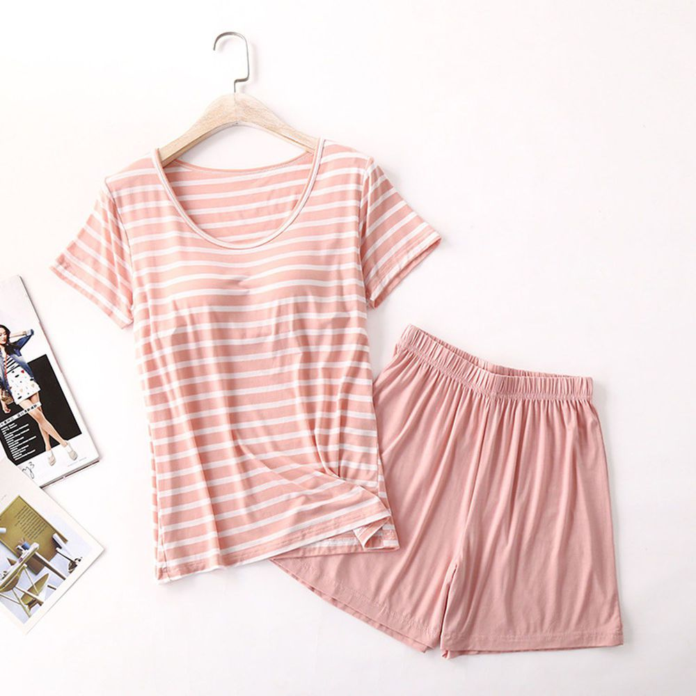 莫代爾柔軟涼感Bra T家居服-短褲套裝-粉白條紋
