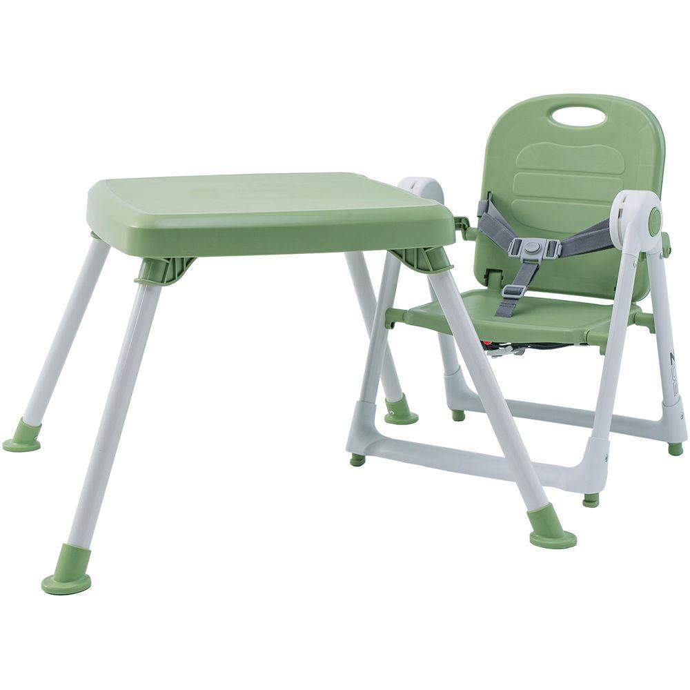 美國 ZOE - 折疊餐椅 x 折疊桌-附白色小餐盤-抹茶綠