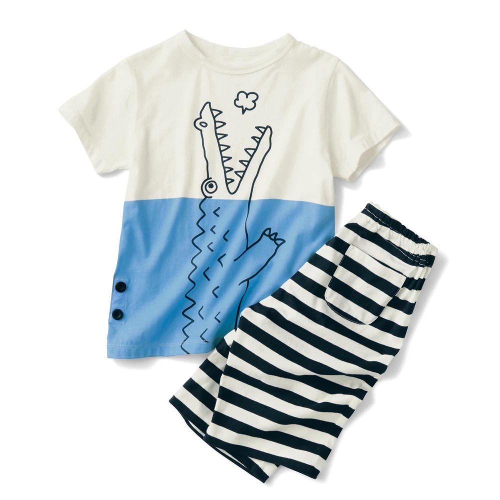 日本千趣會 - GITA 天竺棉舒適短袖家居服-鱷魚呼吸-藍白