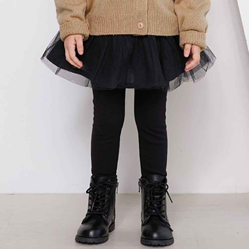 韓國 WALTON kids - 荷葉抓皺網紗褲裙-黑