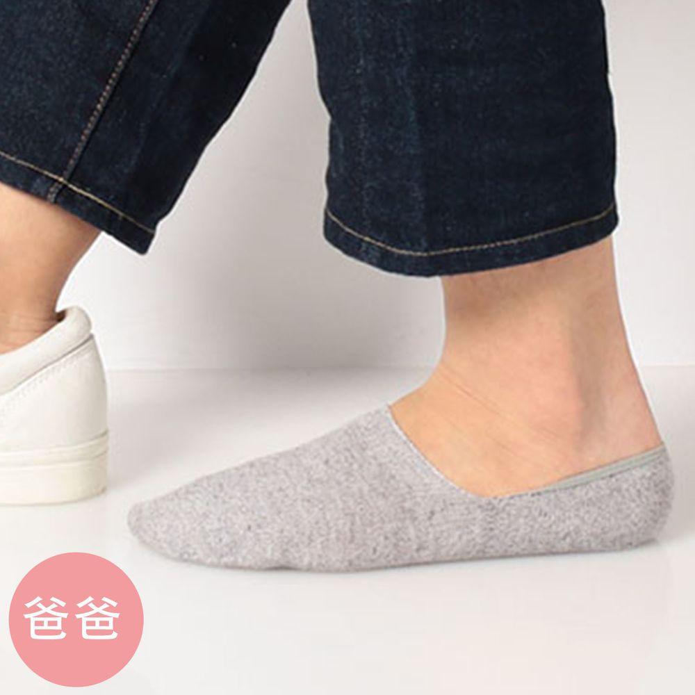 日本 okamoto - 超強專利防滑ㄈ型隱形襪(爸爸)-吸水速乾-淺灰 (25-27cm)-棉混