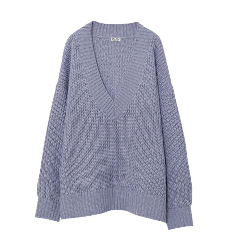 日本女裝代購 - 深V領粗坑紋針織上衣-灰藍 (M(Free size))