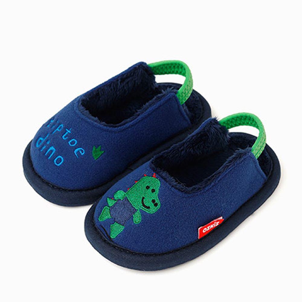 韓國 OZKIZ - 消音防滑室內鞋-內刷毛款(動物)-深藍