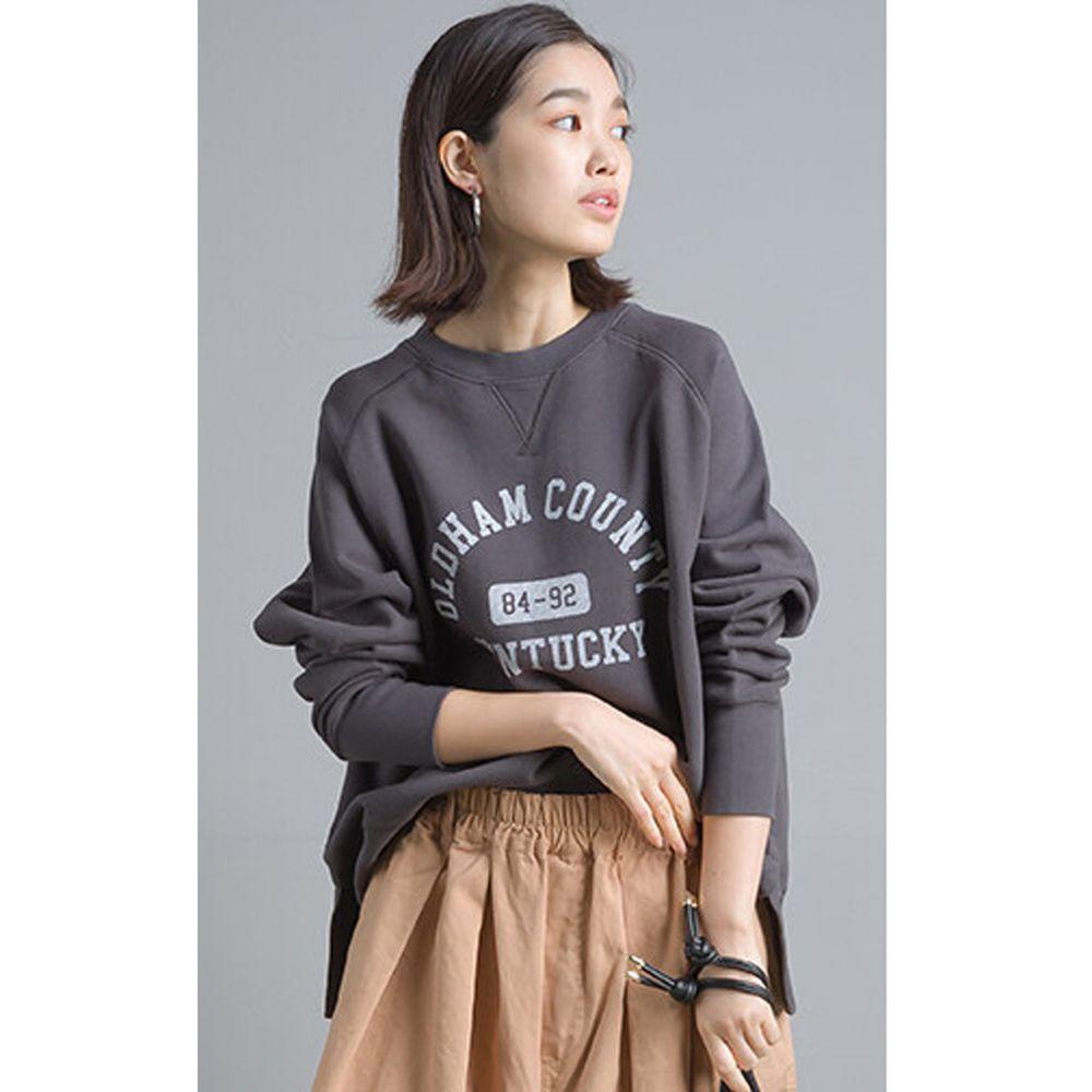 日本女裝代購 - 純棉裏毛美式字母大學T-深灰