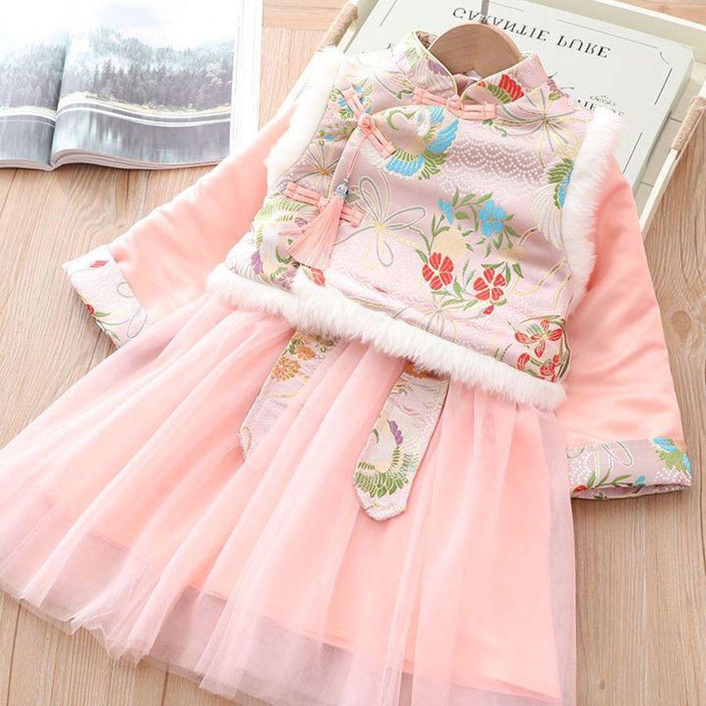 鳳舞背心唐裝紗裙-加厚款洋裝+背心-粉色