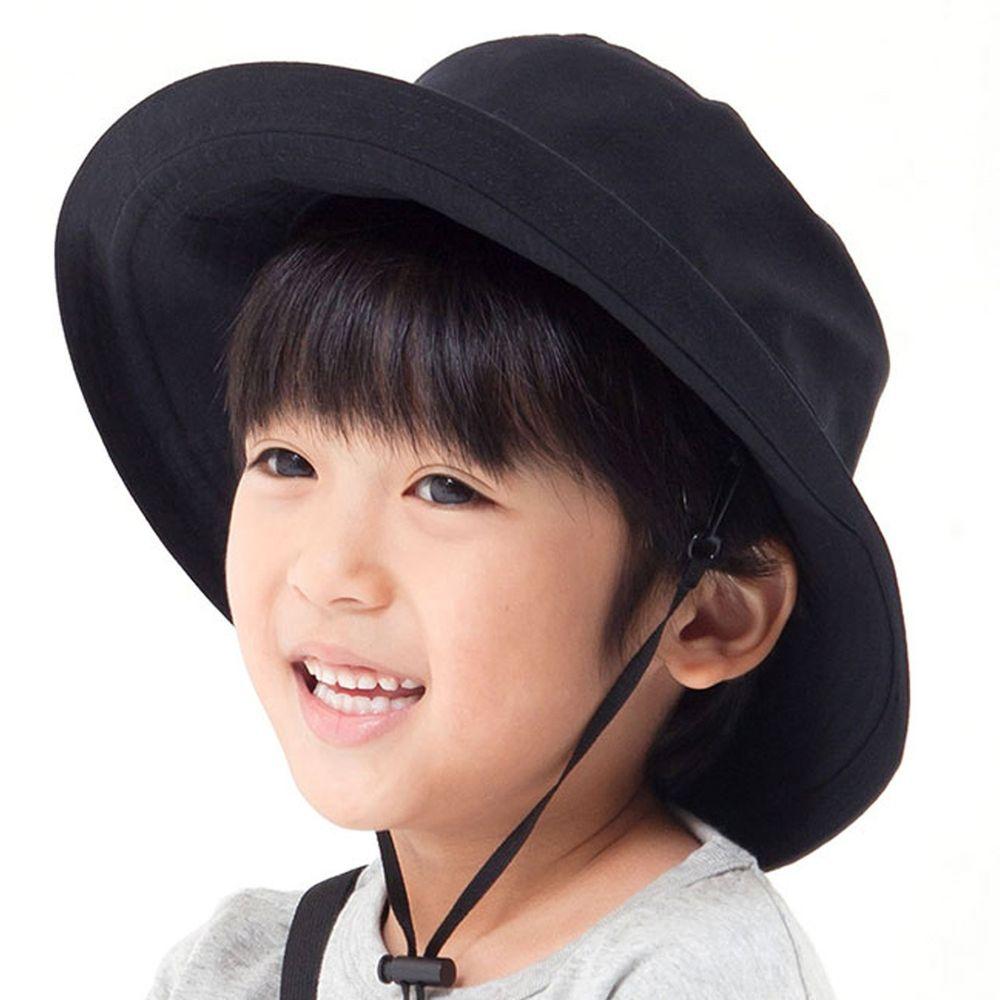 日本服飾代購 - 【irodori】抗UV可捲收遮陽帽(附防風帽帶)-兒童款-經典黑 (54cm)-純棉