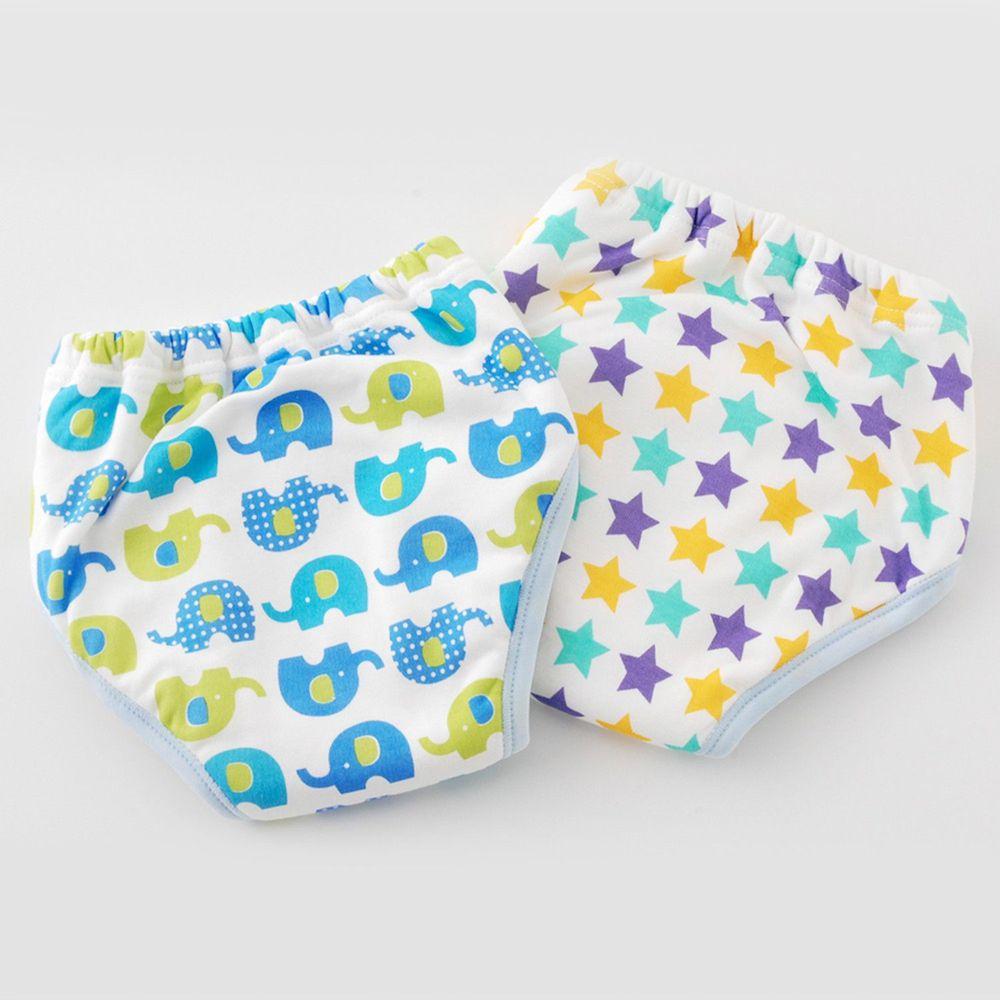 日本 Chuckle Baby - 六層學習褲(兩件組)-大象+星星-藍-密縫式