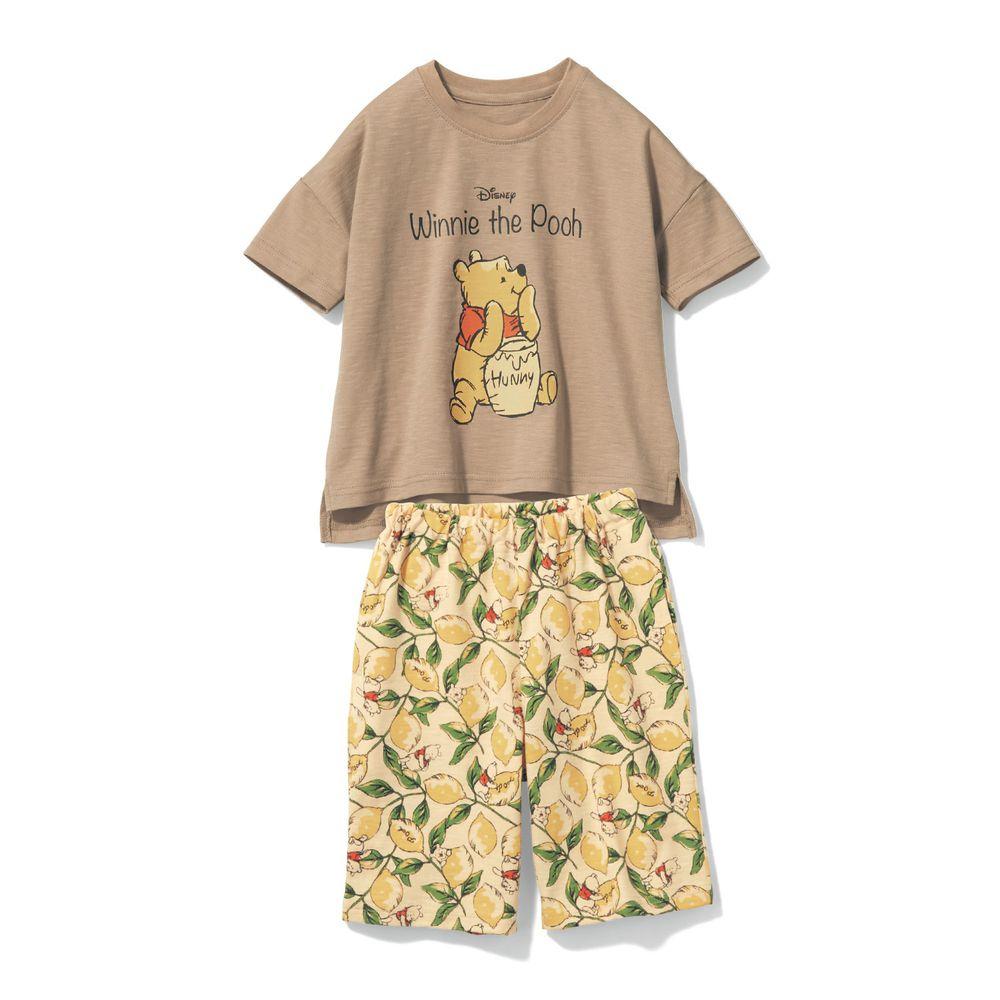 日本千趣會 - 迪士尼純棉印花短袖家居服-維尼檸檬-褐黃
