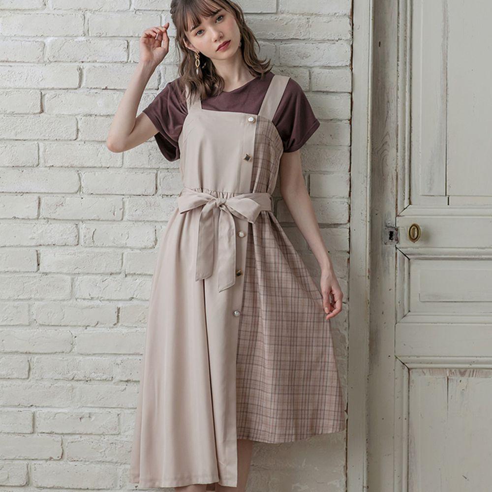 日本 GRL - 不規則格紋拼接綁帶吊帶裙-氣質杏