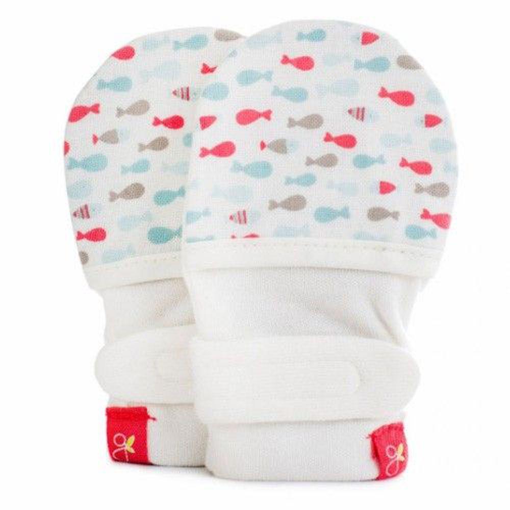 美國 GOUMIKIDS - 有機棉嬰兒手套-小小魚-甜心
