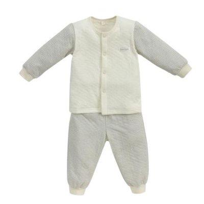 經典條紋系列-有機棉長袖前開套裝-秋冬款-淺灰