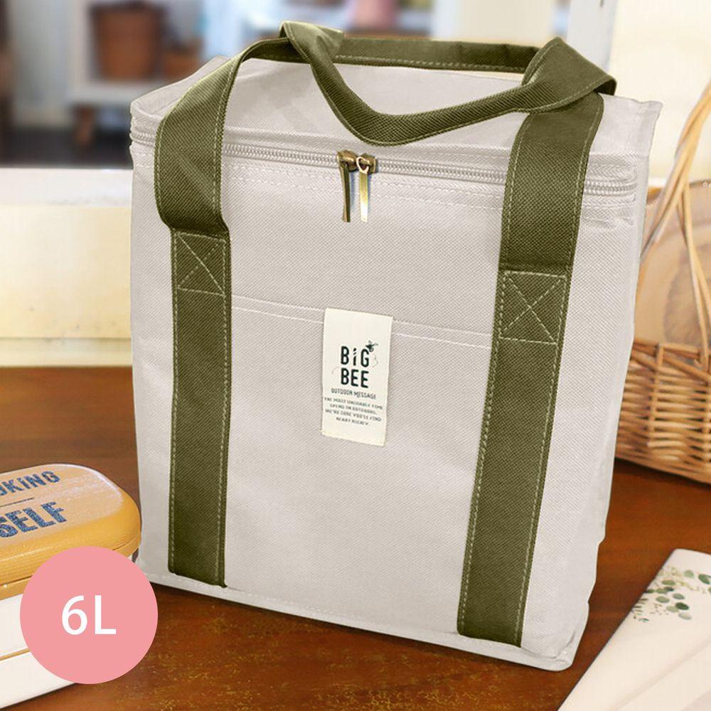 日本 Big Bee - 保冷便當袋/方形購物袋-米白-6L