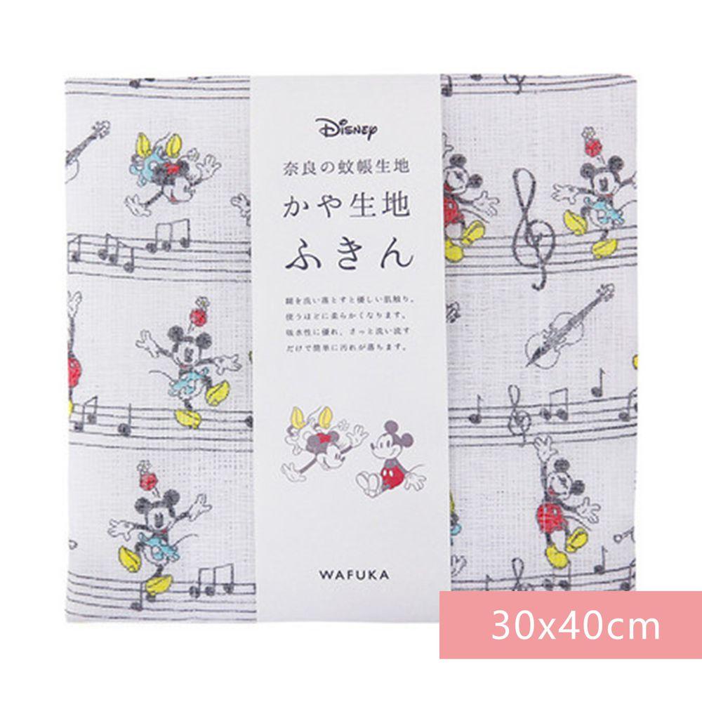 日本代購 - 【和布華】日本製奈良五重紗 方巾-米奇米妮音符 (30x40cm)
