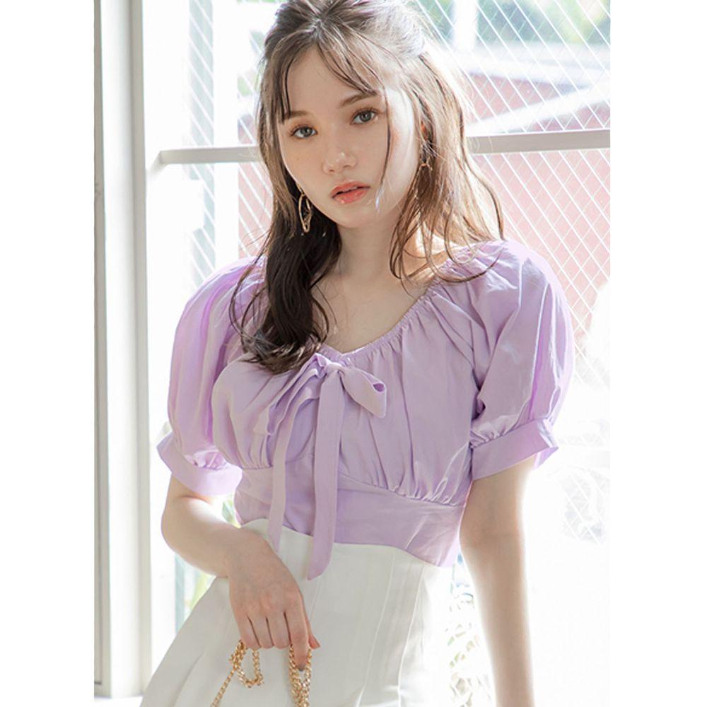 日本 GRL - 氣質抓皺U領蝴蝶結綁帶短版短袖上衣-浪漫紫