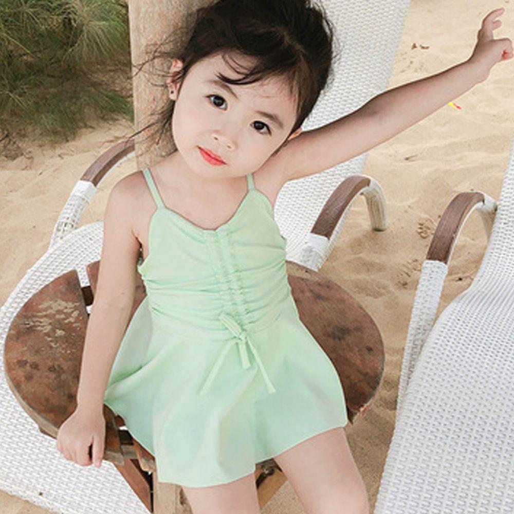 抽繩蝴蝶結兒童泳裝-綠色