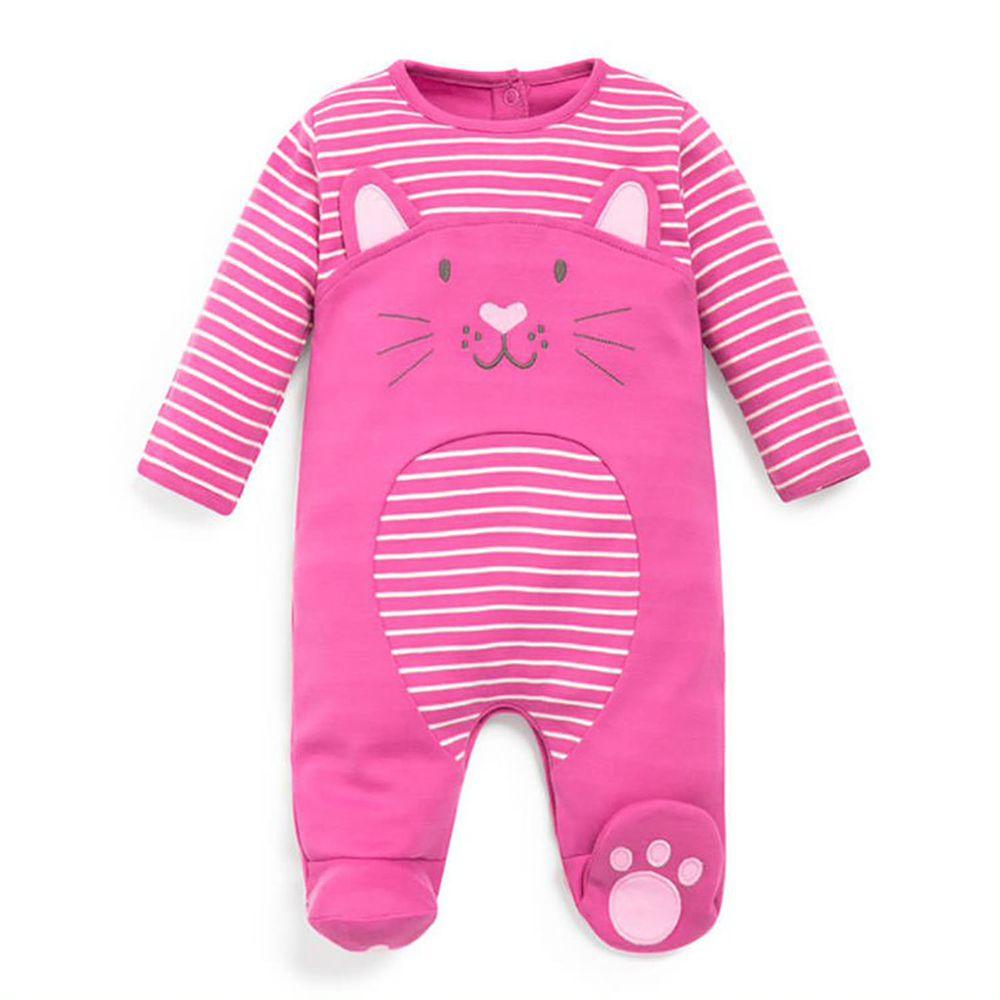 英國 JoJo Maman BeBe - 嬰幼兒長袖純棉包腳連身衣-粉紅貓