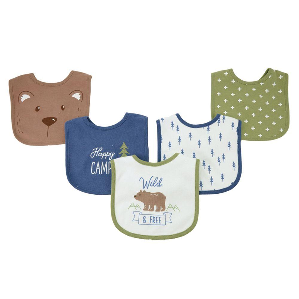 美國 Luvable Friends - 嬰幼兒雙層吸水口水巾圍兜5入組-棕熊寶寶