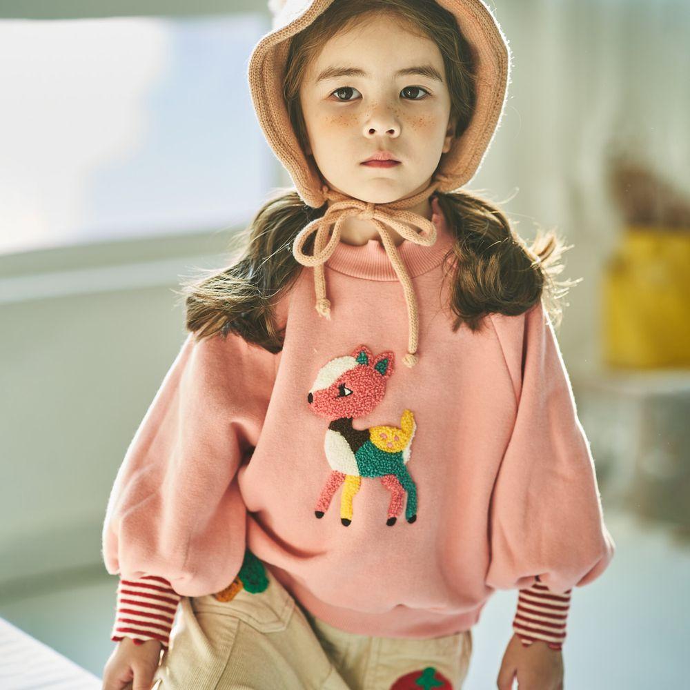 韓國 Mimico - (裏起毛)彩色花鹿泡泡袖上衣-粉紅