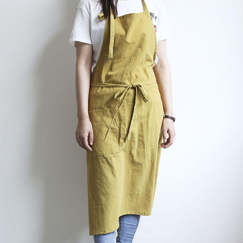 率性扣帶水洗棉麻圍裙-薑黃