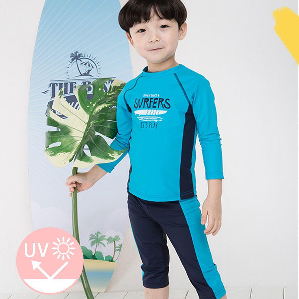 韓國 Ppippilong - (抗UV)防曬泳裝2件組-藍色衝浪板