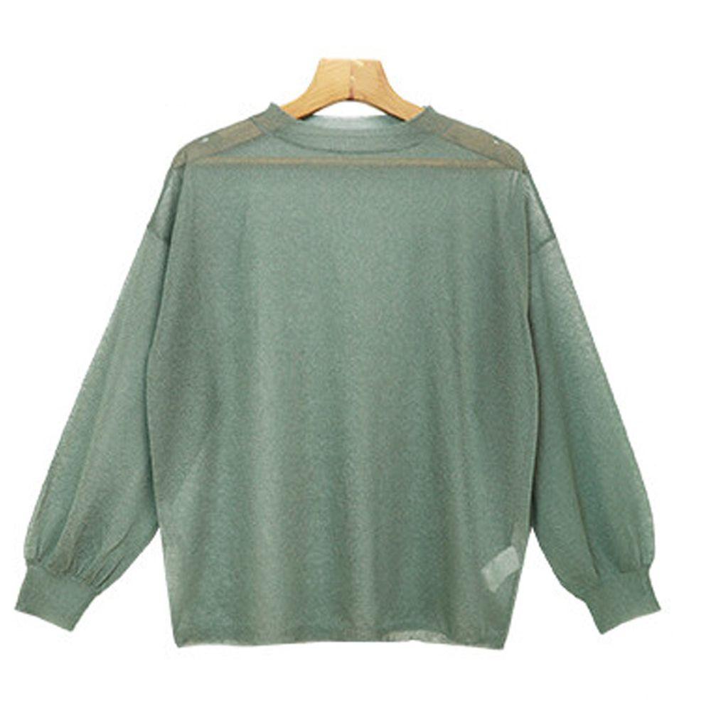 日本女裝代購 - 時尚透視感輕薄針織長袖上衣-綠-6001469