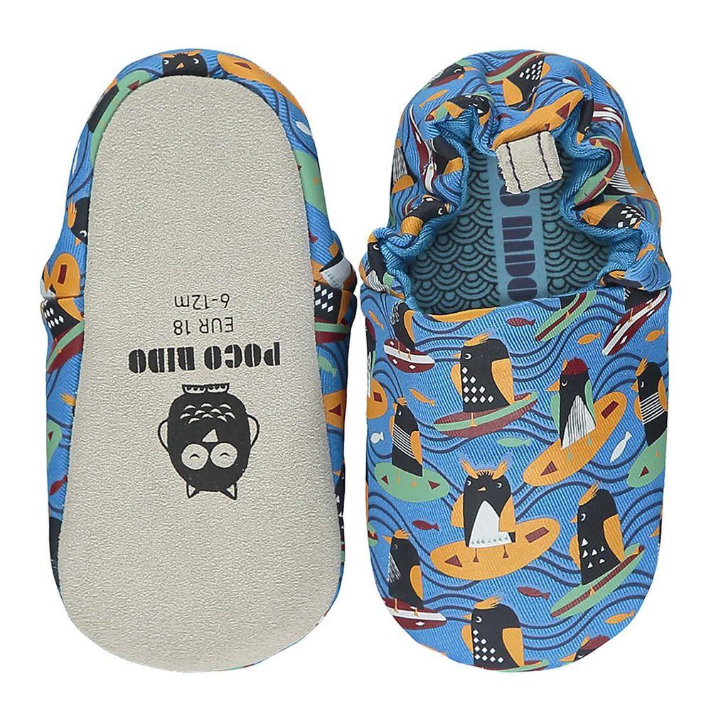 英國 POCO NIDO - 寶寶手工鞋/學步鞋-衝浪企鵝-海洋藍