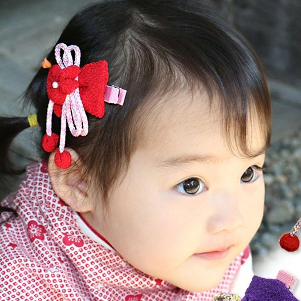 日本服飾代購 - 日本製傳統蝴蝶結髮夾-繩式-紅 (FREE)