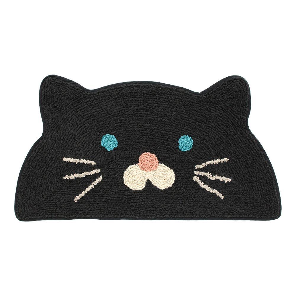 日本 TOMO - 半圓臉可愛動物腳踏墊-黑貓 (約35x75cm)