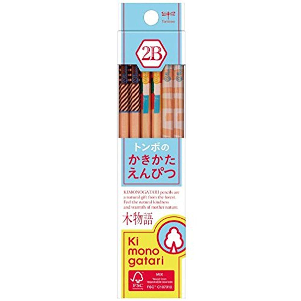 日本文具代購 - Tombow FSC森林認證木材製六角鉛筆12支-2B-木物語水藍