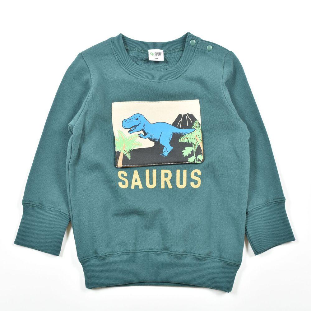 日本 Baby Room - (裏毛)純棉立體翻翻樂長袖上衣-恐龍化石-綠