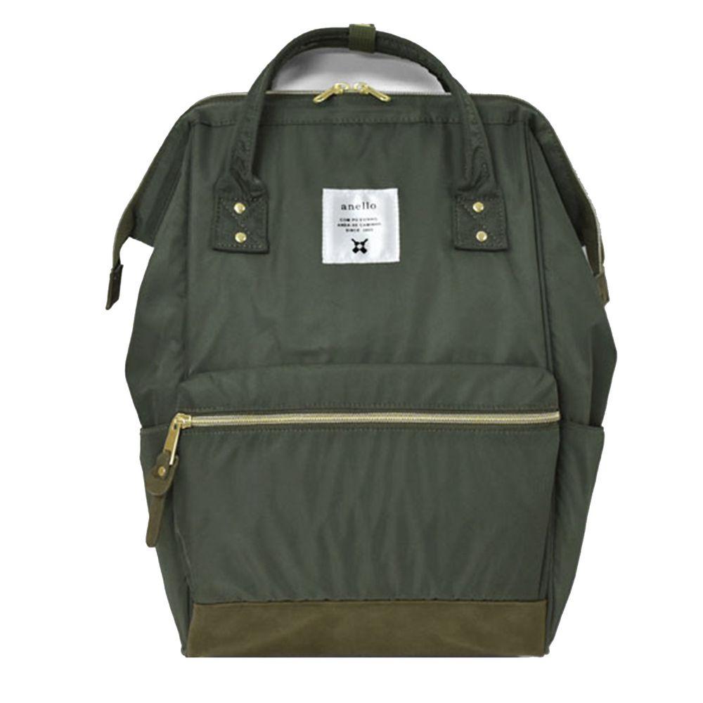 日本 Anello - 日本大開口高密度尼龍後背包-Regular大尺寸-KH卡其綠