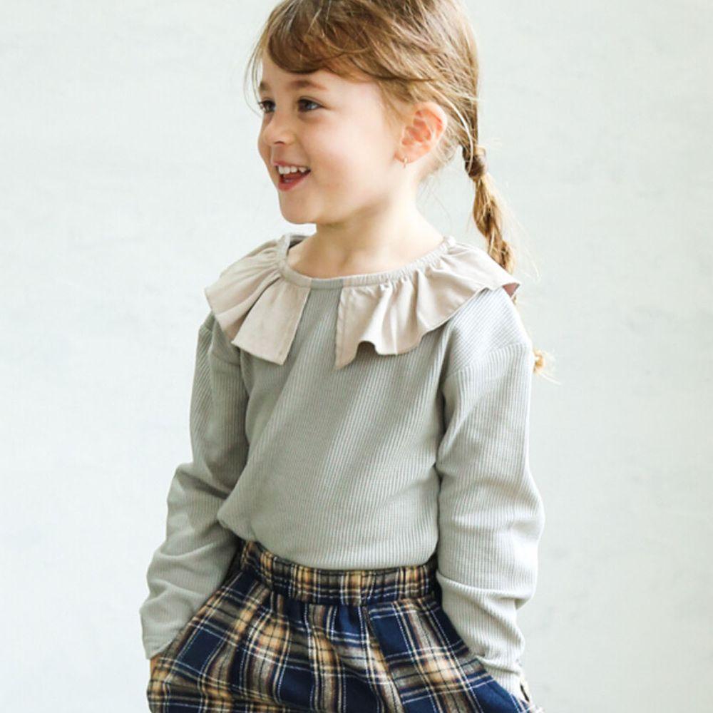 日本 PAIRMANON - 撞色荷葉領設計鬆餅紋長袖上衣-杏X灰