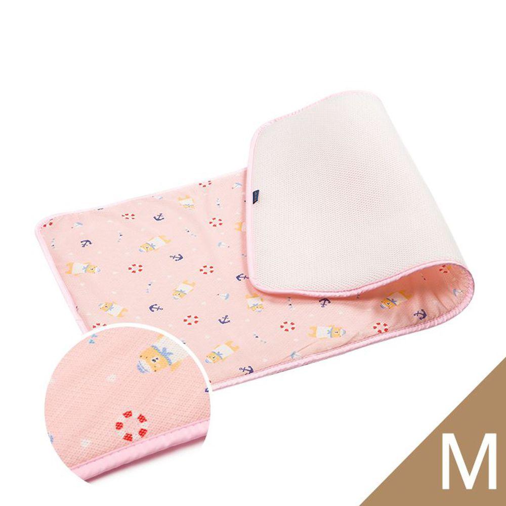 韓國 GIO Pillow - 超透氣排汗嬰兒床墊-水手熊粉 (M號)