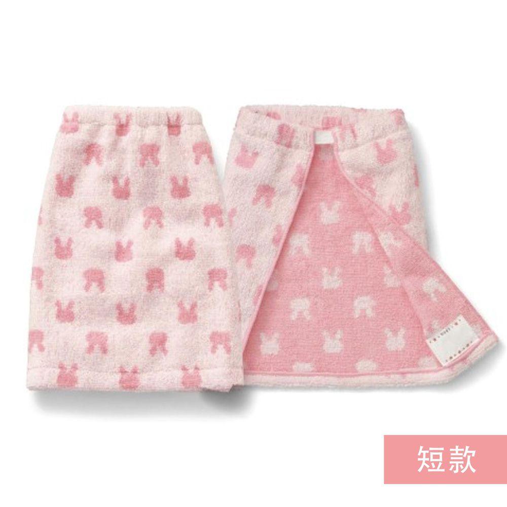 日本千趣會 - 毛巾圍兜2件組-兔兔-粉 (短(34x27cm))