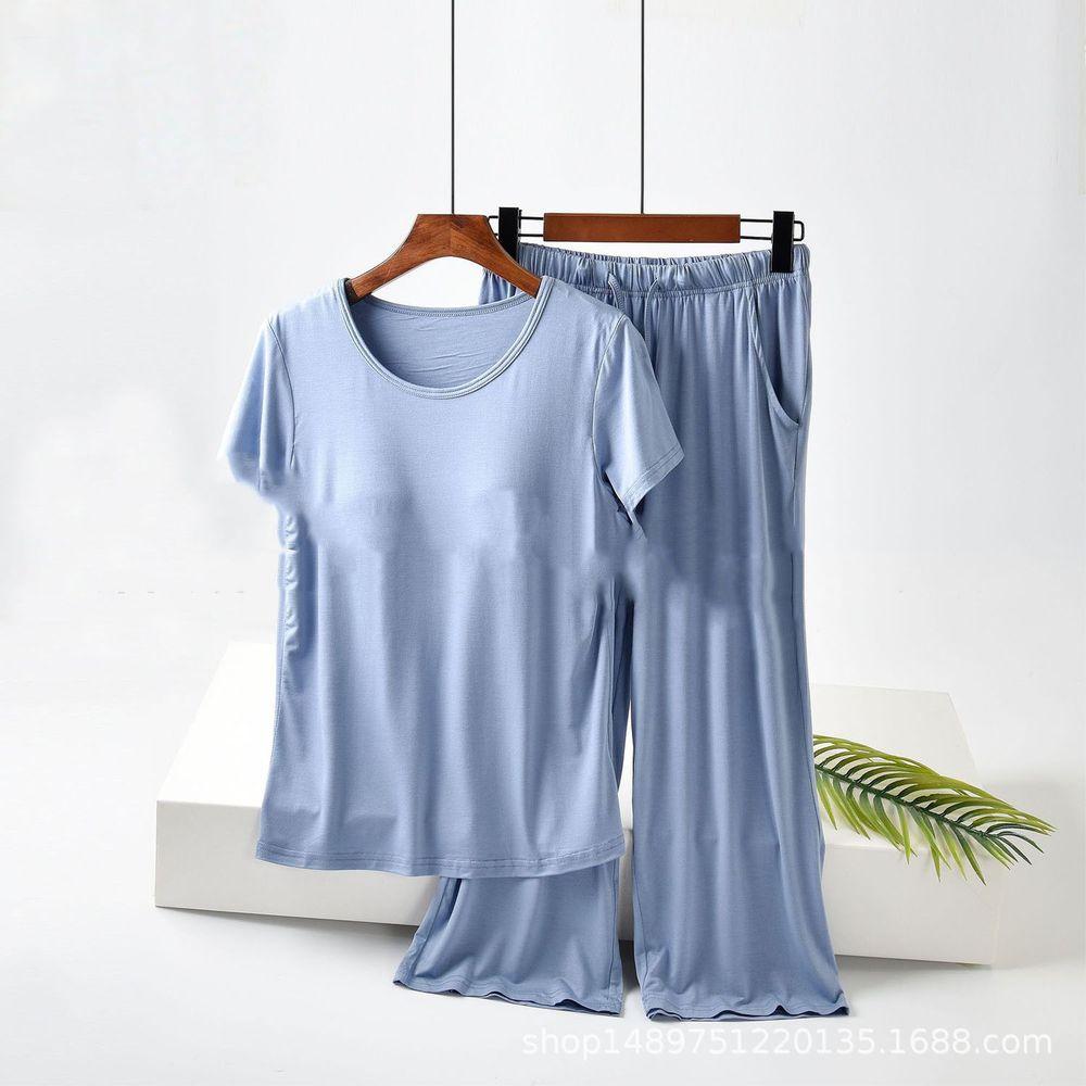 莫代爾柔軟涼感Bra T家居服-七分褲套裝-藍色