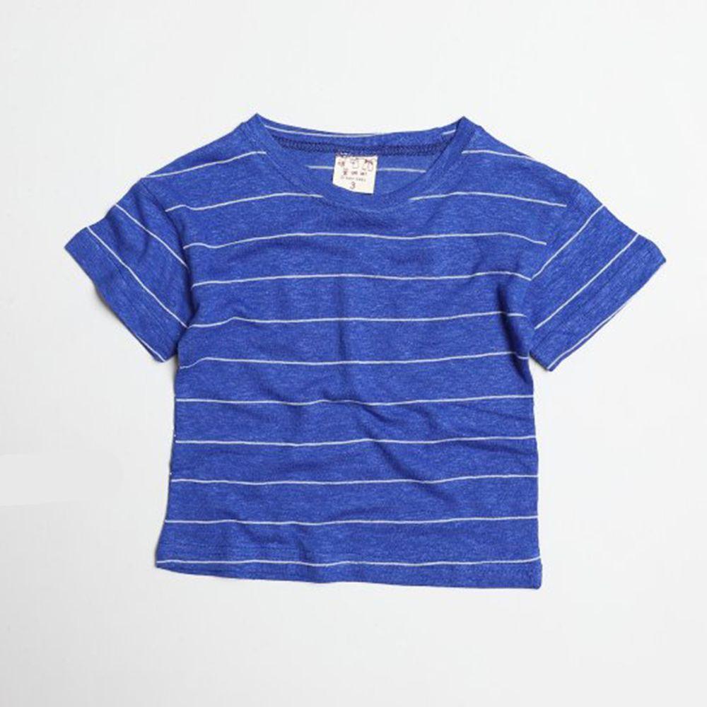 韓國製 - 棉麻簡約條紋T-海軍藍