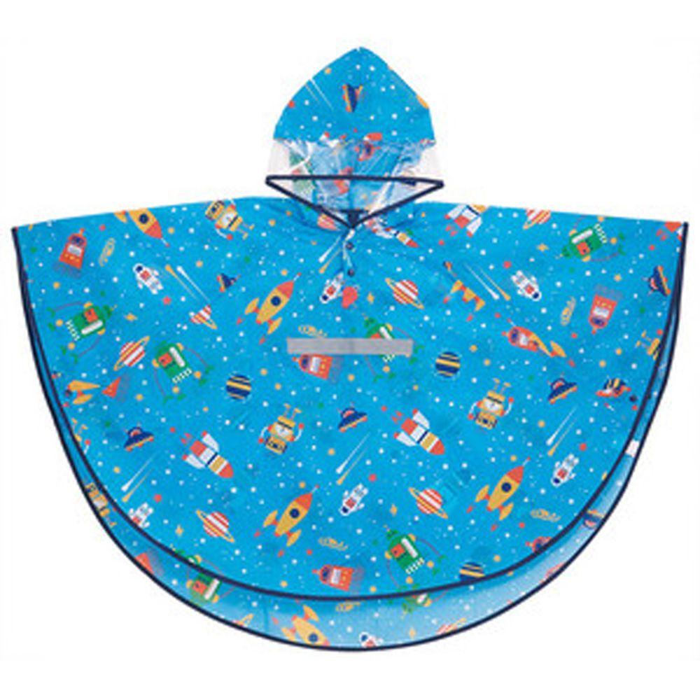 日本 SKATER 代購 - 兒童防雨斗篷(附安全反光條/收納袋)-宇宙機器人 (110~125cm通用)