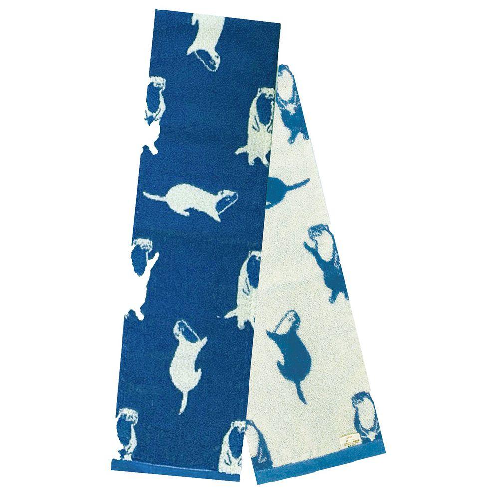 日本弘雅堂 - 日本製 接觸涼感速乾毛巾-海獺排球-水藍 (90x16cm)