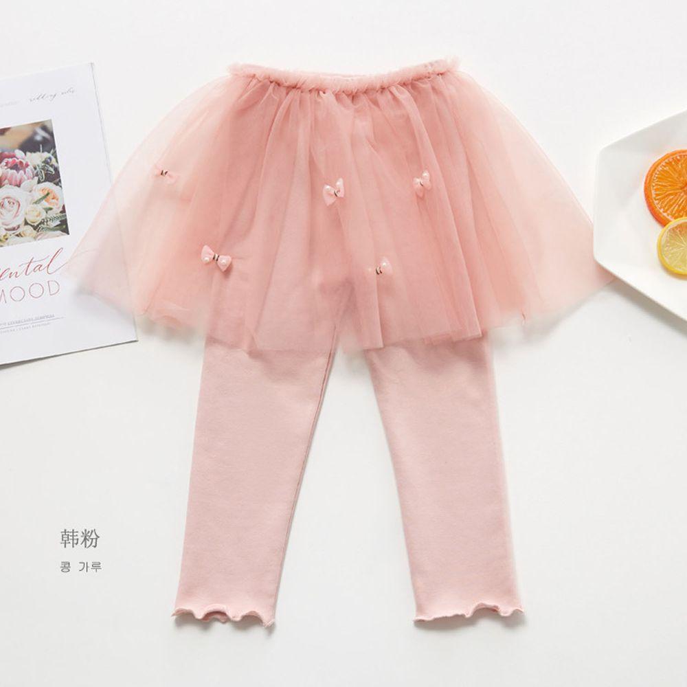 FANMOU - 內搭褲裙-蝴蝶結紗裙-粉色