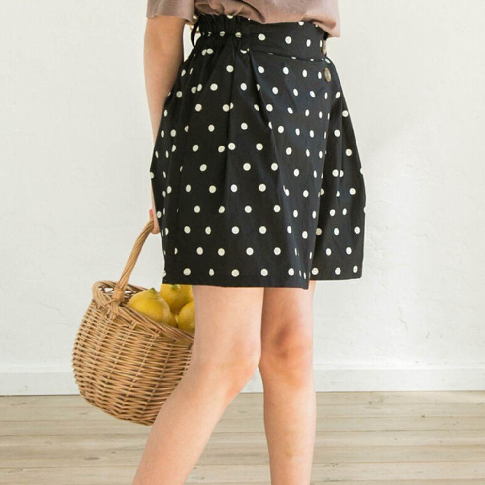 日本 PAIRMANON - 純棉輕薄打褶短版寬褲-點點-黑白