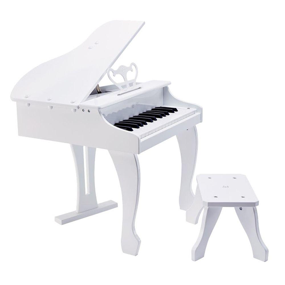 Hape - 豪華木製三角鋼琴(音樂啟蒙玩具)-白色