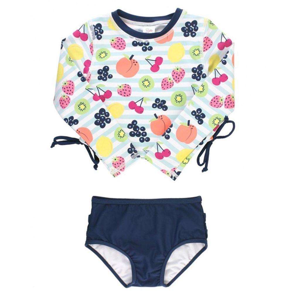 美國 RuffleButts - 小女童UPF 50+防曬兩件式長袖泳裝-水果嘉年華