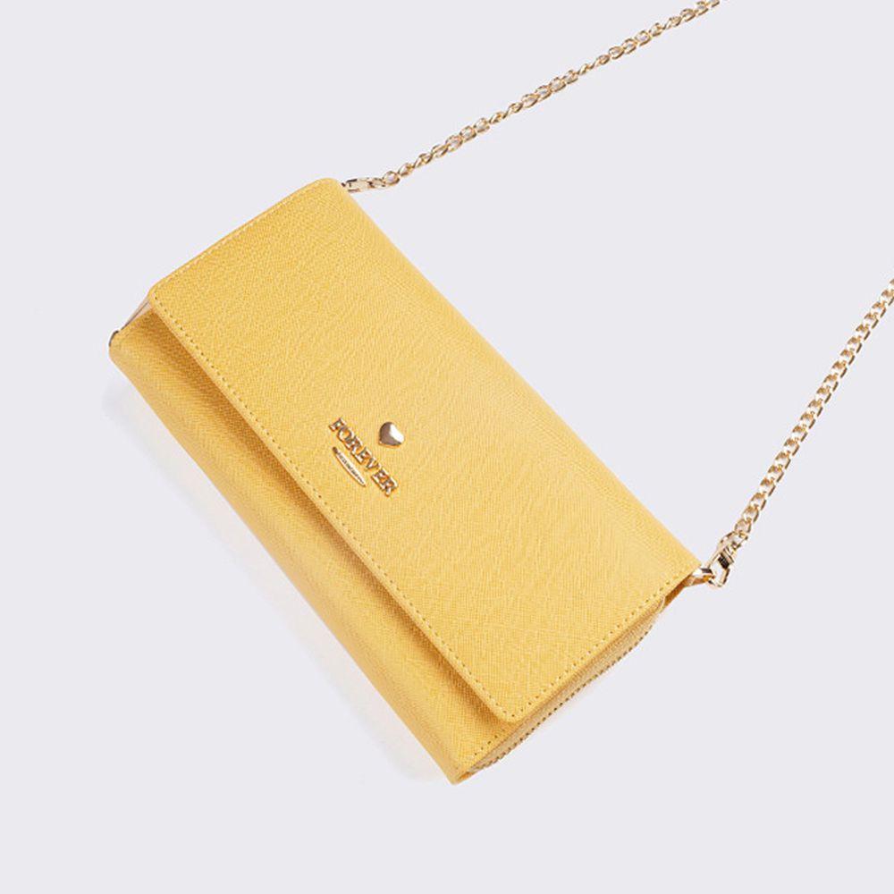 2way時尚多功能斜紋長夾鏈條包-檸檬黃