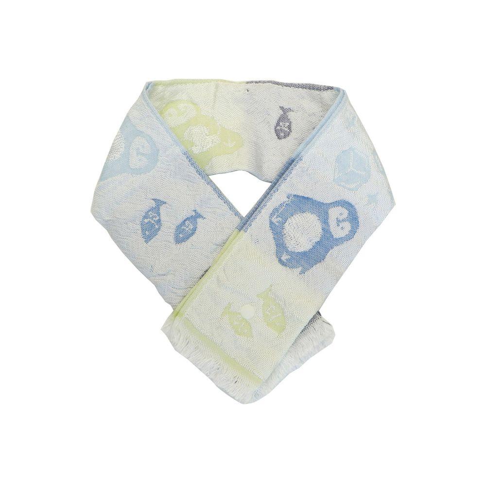 日本涼感雜貨 - 日本製 Eco de COOL 接觸冷感毛巾(附保冷劑/固定釦)兒童-企鵝-漸層藍 (65x8cm)
