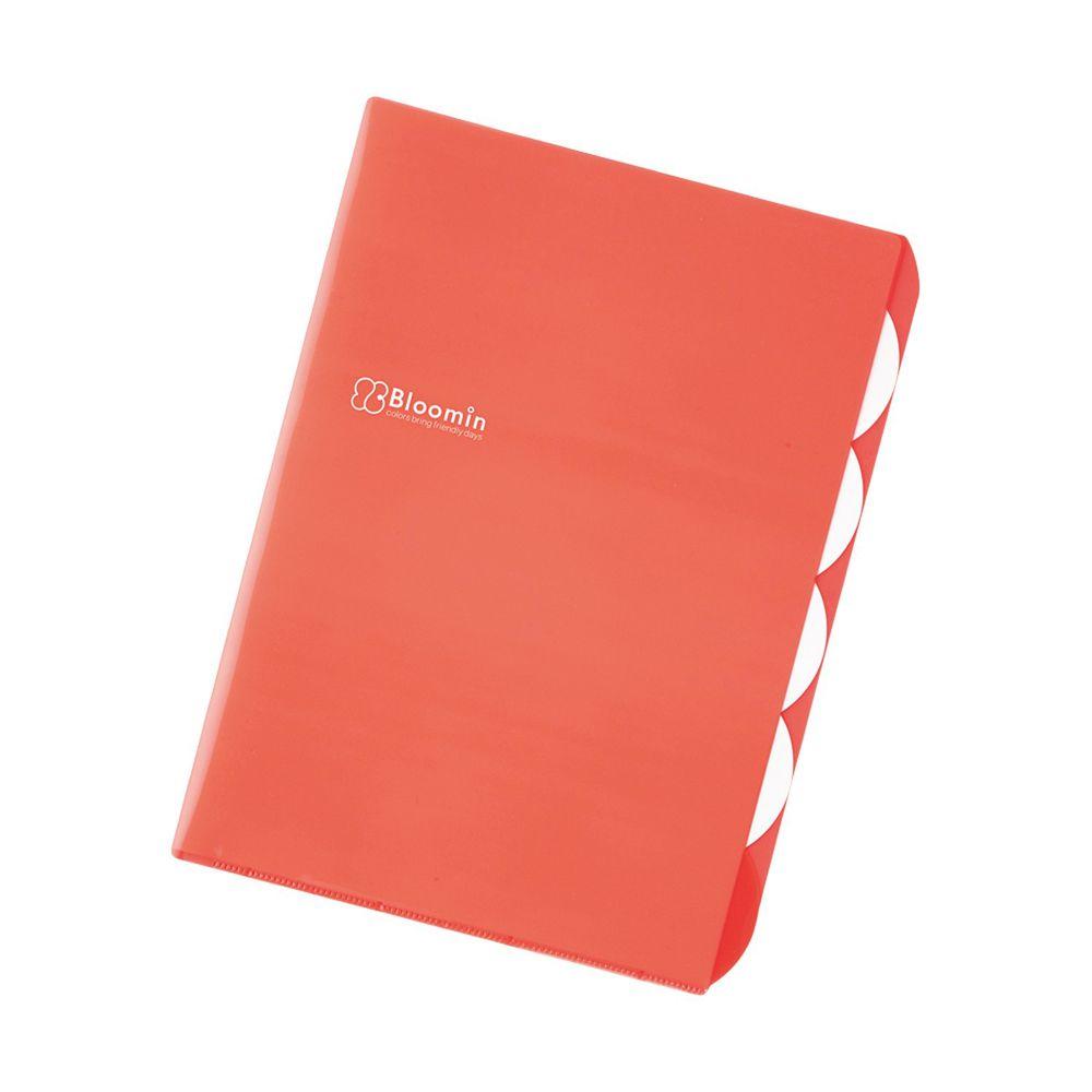 日本文具 LIHIT - L型五層收納文件夾-暖橘紅 (A4)-團購專案