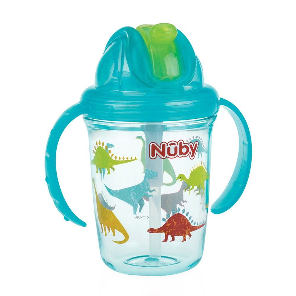 Nuby - 晶透杯系列 雙耳學飲杯-恐龍-藍-240ml (細吸管)